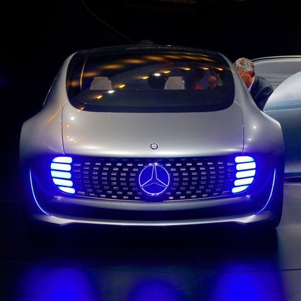 "Finally got to see Mercedes-Benz's F 015 Luxury self-driving car, that I've been talking about in my trends presentation, in the ""flesh"". It's nice. And note the Tron-style detailing, also something that I see coming on strong in the next while ..."