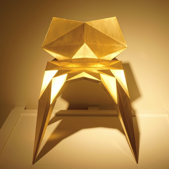 """Brass Bowie Chair"" by Zhoujie Zhang at the Gallery ALL booth."